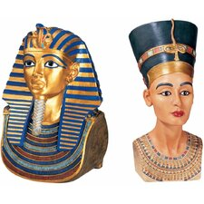 2 Piece Tut and Nefertiti The Golden Mask of Tutankhamen and Queen Nefertiti Bust