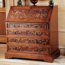 Carved Unicorn Drop-Front Secretary Desk