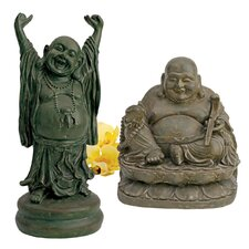 Jolly Hotei and Laughing Buddha 2 Piece Sanctuary Figurine Set