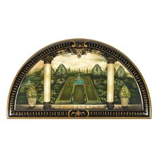 The Italian Garden Trompe Loeil Wall Lunette Original Painting Plaque