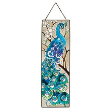<strong>Design Toscano</strong> Peacock's Pageantry Hand-Painted Art Glass Panel