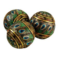 Peacock Feathered Orbs Decorative Accent Balls (Set of Three)