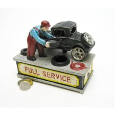 Authentic Model T at the Service Station Foundry Mechanical Bank Figurine