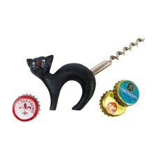 Cat Bottle Opener with Corkscrew Tail