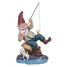 Gone Fishing Garden Gnome Statue
