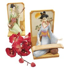 Japanese Geisha Musical Court Sculptural (Set of 2)