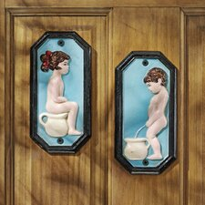 2 Piece Tinkle Twins Restroom Wall Décor Set