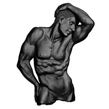 Demure Pose Male Torso Head Left Wall Décor
