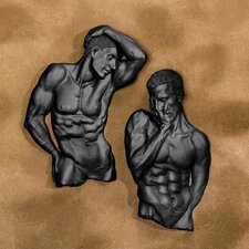 Demure Pose Male Torso Wall Sculpture (Set of 2)