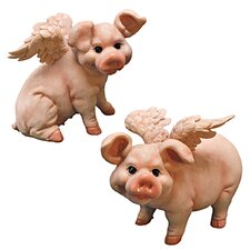 Hog Heaven Flying Pig Statue (Set of 2)