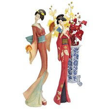 <strong>Design Toscano</strong> Japanese Maiko Geisha 2 Piece Fan Dancer Statue Set