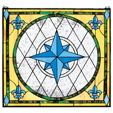 <strong>Design Toscano</strong> Compass Rose Stained Glass Window Wall Art