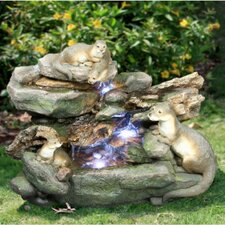 Resin Four Playful Otters Garden Fountain