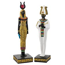 Osiris and Hathor Deities of Ancient Egypt Statues (Set of 2)