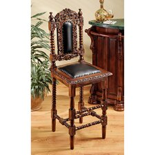 Charles II Gothic Bar Stool with Cushion (Set of 2)