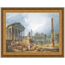 Architectural Capriccio with Obelisk by Hubert Robert Framed Painting Print