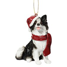 <strong>Design Toscano</strong> Border Collie Holiday Dog Ornament Sculpture