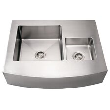 "Noah's 36"" x 29"" Commercial Double Bowl Farmhouse Undermount Kitchen Sink"