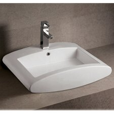 <strong>Whitehaus Collection</strong> Isabella Rectangular Bathroom Sink with Overflow and Center Drain
