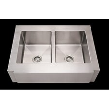 "Noah's 36"" x 26.25"" Commercial Double Bowl Farmhouse Undermount Kitchen Sink"