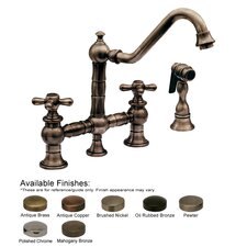 <strong>Whitehaus Collection</strong> Vintage III Double Handle Widespread Bridge Kitchen Faucet with Side Spray