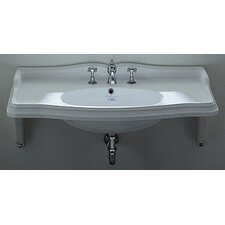 <strong>Whitehaus Collection</strong> China Wall Mount Rectangular Bathroom Sink with Ceramic Shelf Supports
