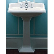 <strong>Whitehaus Collection</strong> China Large Traditional Pedestal Bathroom Sink with Rectangular Basin