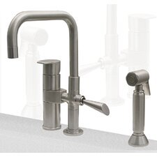 Gyro Two Handle Widespread Kitchen Faucet with Mixer and Side Spray