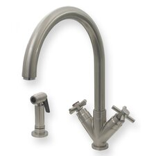 "Luxe Two Handle Single Hole Kitchen Faucet with ""V"" Shaped Cross Handles"
