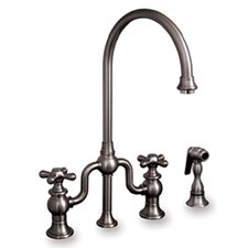 Twisthaus Two Handle Widespread Bridge Kitchen Faucet with Long Gooseneck Swivel Spout Lever Handles and Side Spray