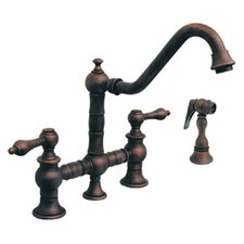 Vintage III Two Handle Widespread Bridge Faucet with Traditional Swivel Spout, Lever Handles and Side Spray