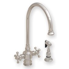 <strong>Whitehaus Collection</strong> Vintage III Two Dual Handle Single Hole Kitchen Faucet with Cross Handle and Side Spray