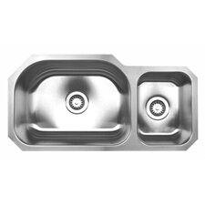 "<strong>Whitehaus Collection</strong> Noah's 32.75"" x 16.75"" Chefhaus Double Bowl Undermount Kitchen Sink"