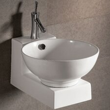 <strong>Whitehaus Collection</strong> Isabella Round Bathroom Sink with Overflow and Center Drain