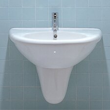 <strong>Whitehaus Collection</strong> China U-Shaped Half Pedestal Bathroom Sink