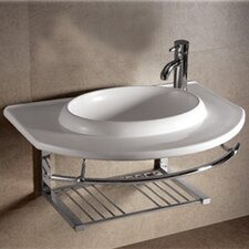 Isabella Large Rectangular Bowl Bathroom Sink with Chrome Shelf and Towel Bar
