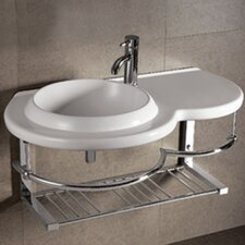 <strong>Whitehaus Collection</strong> Isabella Large Round Bowl Bathroom Sink with Chrome Shelf and Towel Bar