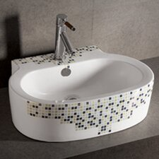 <strong>Whitehaus Collection</strong> Isabella Decorative Tile Oval Bathroom Sink with Center Drain