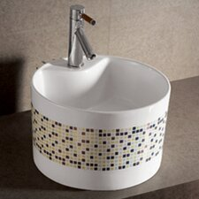 Isabella Decorative Tile Round Bathroom Sink with Center Drain