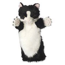 Long-Sleeved Cat Glove Puppet in Black and White