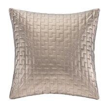 Quilted Metallic Faux Leather Square Throw Pillow