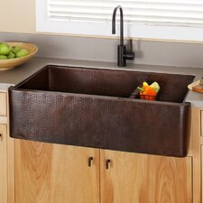 "40"" x 22"" Farmhouse Duet Pro Hand Hammered Kitchen Sink"