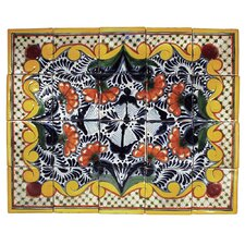 "Golondrina 20"" x 16"" Hand Painted Talavera Mural Tile (Set of 20)"