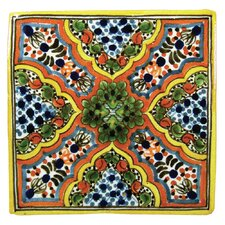 Apricot Hand Painted Talavera Tile