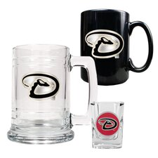 MLB 15oz Tankard, 15oz Ceramic Mug and 2oz Shot Glass Set - Primary Logo