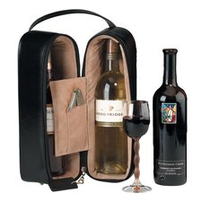 Man Made Leather Double Wine Presentation Case in Black