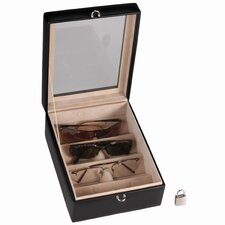 4-Slot Leather Eyeglass Box
