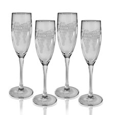 <strong>Susquehanna Glass</strong> Champagne Flute 5.75 oz. Hand Cut Sonoma Pattern (Set of 4)