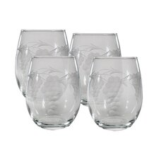 <strong>Susquehanna Glass</strong> Stemless Wine Glass 15 oz. Hand Cut Sonoma Pattern (Set of 4)