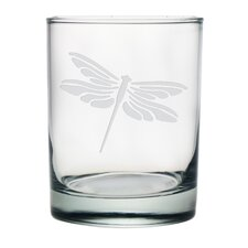 Dragonfly Double Rocks Glass (Set of 4)